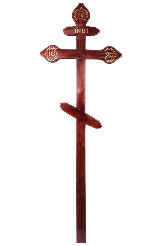 Крест «Лакированный сосновый с куполами»